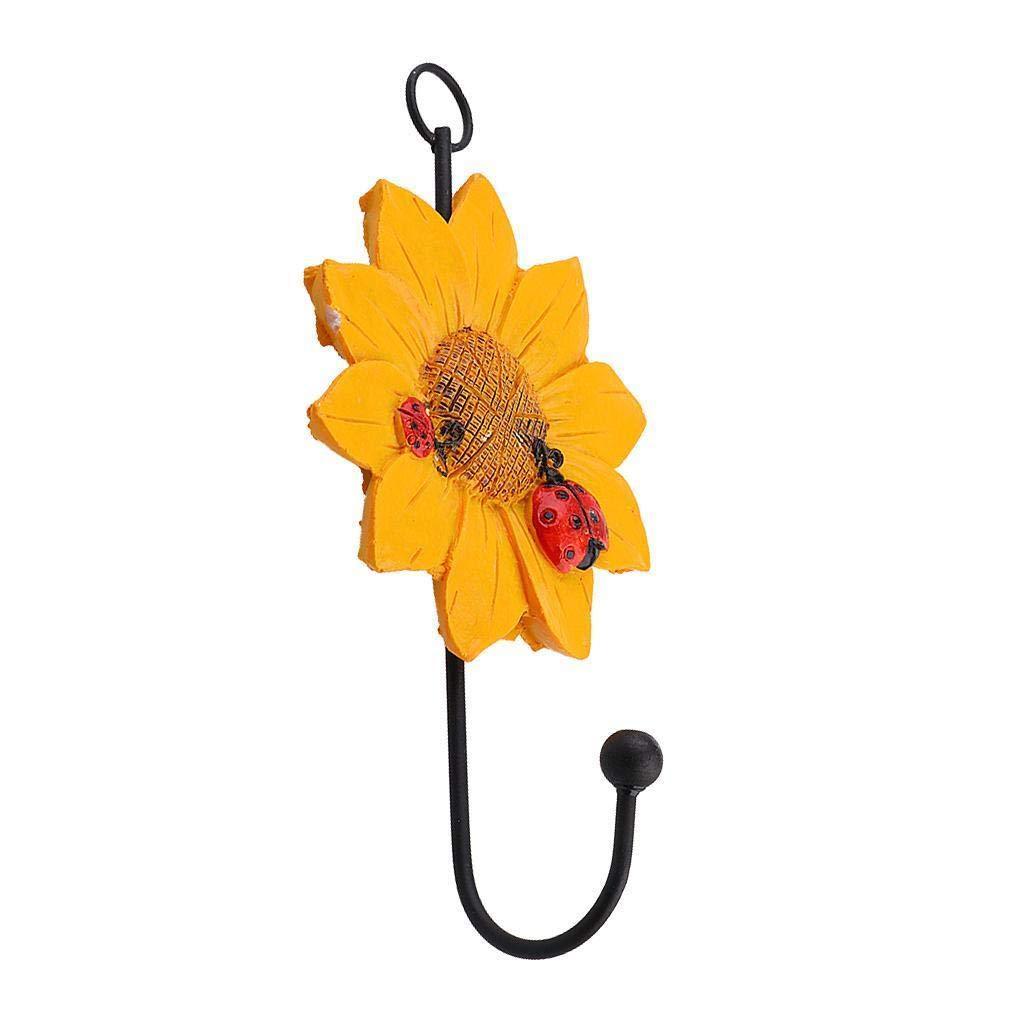 Agordo Heavy Duty Daisy Flower Wall Hook/Door Hanger for Hat Key Coat Towel Yellow
