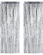 Relaxdays Partygordijnen, set van 2, feestdecoratie voor verjaardag en bruiloft, metallic, draadgordijn glitter, 100 x 250cm, zilver