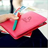 BECUTE Lovely Credit Card ID Passport Ticket Organizer Holder Red