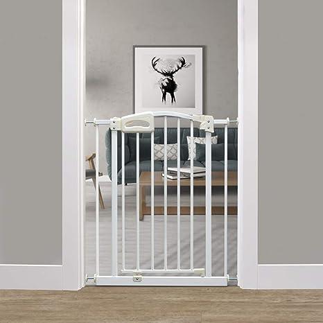 Callowesse Carusi - Puerta de bebé estrecha 63-70cm - Blanco metálico con cierre automático, calidad a presión de la puerta de la escalera no requiere herramientas: Amazon.es: Bebé