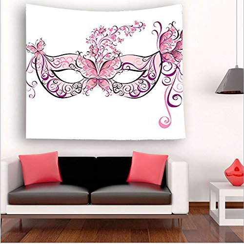 Nalahome- Collection Butterfly Masks for a Masquerade Italian Fantasy Floral Design Artwork Pink Purple White tapestry psychedelic wall art tapestry hanging hippie 59W x 59L Inches 59W x 59L Inches