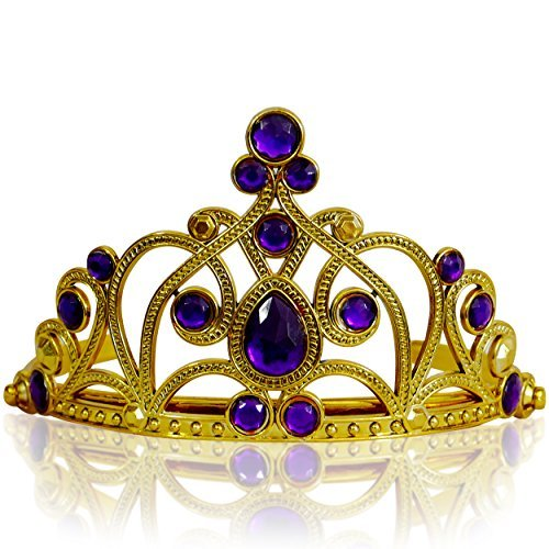 Katara Costume Accessories (Girls Princess Tiara: Fancy Costume Accessory for Parties, Halloween or Weddings: Elegant Rhinestone Headband Ages 3-11 (Gold Purple) by Katara)