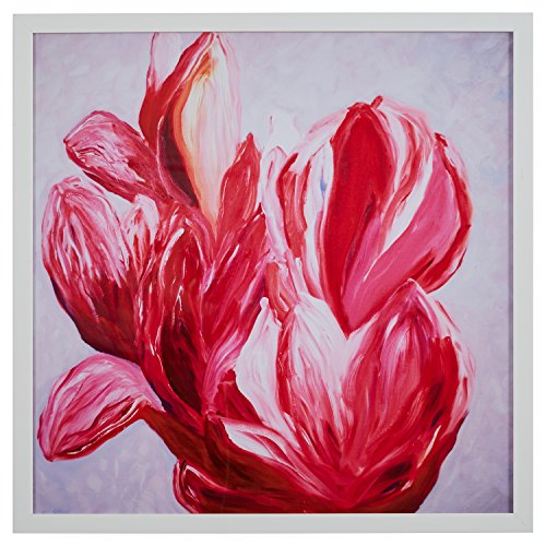 Modern Brilliant Pink Flower Print, in White Wood Frame, 32'' x 32'' by Stone & Beam