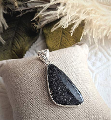 Unique Minimalist Artisan Crafted Sterling Silver Navy Blue Goldstone Pendant