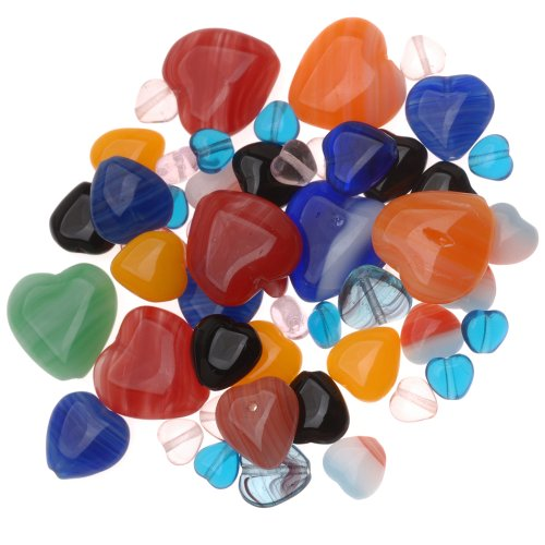 Beadaholique Czech Glass Heart Shaped Bead Mix, Assorted Colors and Sizes ()