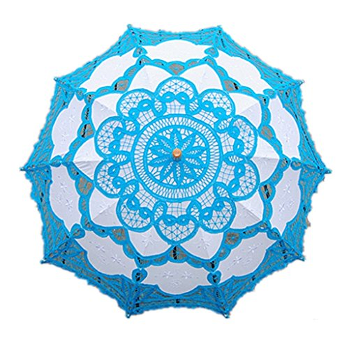 FOME Home & Kitchen Wedding Lace Parasol Umbrella Victorian Lady Costume Accessory Bridal Party Decoration Photo Props Lucky Blue + A FOME - Ladies Pictures Victorian