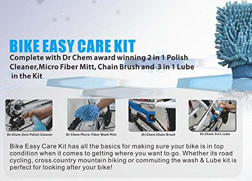 Jecr Bike Easy Care Kit - 4in1 Bicycle Cleaning Tool Set - Includes Micro Fiber Wash Mitt, Heavy Duty Chain Brush, 3in1 Chain Lube, and Polish Cleaner - Complete Cycling Wash Kit by Jecr (Image #2)