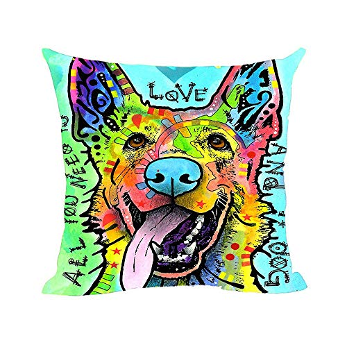 CafeTime Colorful Art Dog Cushion Cover Cute Pet German Shepherd Pillow Covers Square Canvas Pillowcase for Home Sofa Couch Seat Office Decorative Throw Pillow Case 18