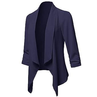 ❤ Chaqueta de Punto Corto para Mujer, otoño sólido Frente Abierto Chaqueta de Manga Larga Chaqueta Informal Escudo Abrigo Formal Abrigo Absolute: ...