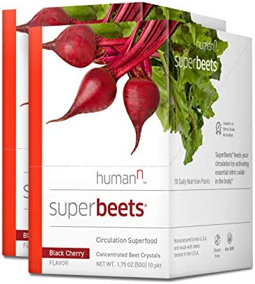 HumanN SuperBeets Circulation Superfood Concentrated Beet Powder Nitric Oxide Boosting Supplement (Black Cherry Flavor, 0.175-Ounce, 20 Packets)