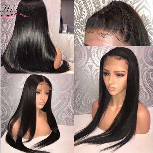 Straight Full Lace Human Hair Wigs With Baby Hair For Black Women Deep Parting Remy Hair Glueless Full Lace Wig Pre Plucked Hibaby Hair With 18 inch (197g)