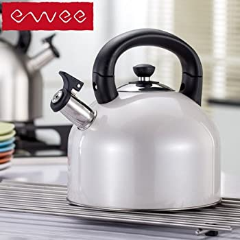 Whistling Tea Kettle - 4 Quart Tea Pot Stainless Steel Tea Kettle for Electric or Gas Stovetop - Cool Cute Modern Tea Kettle Stove Top Teapot Hot Water Whistle - Small Retro Metal Tea Kettle (grey)