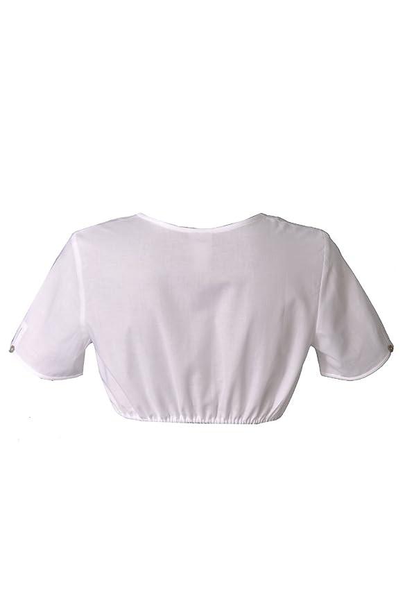Hammerschmid Damen Trachten Bluse Dirndlbluse weiß kurzarm Spitzenärmel Daniela