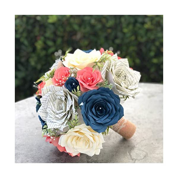 Wedding Bouquet in Coral, Navy blue & Ivory Paper Flowers and Book Page Roses