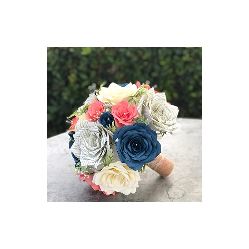 silk flower arrangements wedding bouquet in coral, navy blue & ivory paper flowers and book page roses
