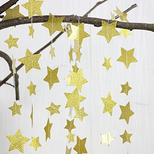 Gold Glittery Star Garland Decoration 5 Meters Elegant Shiny And Sparkling 16 Feet Long Party Background Decor. Great For Christmas, Weddings, Birthday Parties, Bridal Showers, Holidays, Baby Showers. Gold Star Garland