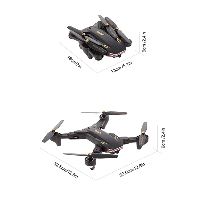 Izi Upgraded Advance Battle Shark Visuo Camera Drone 2.0Mp WiFi Quadcopter Foldable 20 Mins Battery Backup with Remote Controller Included