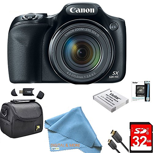 Canon Powershot SX530 HS 16MP Wi-Fi Super-Zoom Digital Camera 50x Optical Zoom Ultimate Bundle Includes Deluxe Camera Bag, 32GB Memory Cards, Extra Battery, Tripod, Card Reader, HDMI Cable & More For Sale