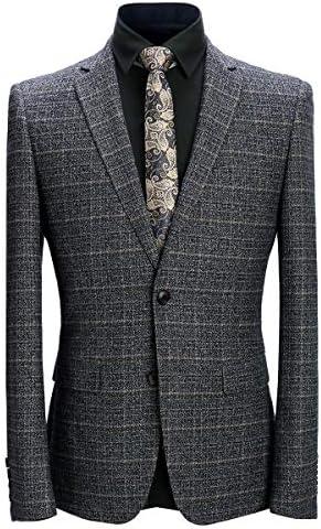 スーツ メンス 上下セット チェック 2柄 S-3XL 灰色