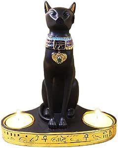 Portavelas de t/é con dise/ño de Diosa egipcia de Gato Minear Estilo Europeo para Manualidades con 2 portavelas de t/é