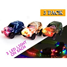 [Patrocinado] Repuesto para Toy Car Azul, café y Verde oscuro Jeeps (3-Pack) con 3luces LED compatible con la mayoría de pistas incluyendo Magic Track para niños y niñas
