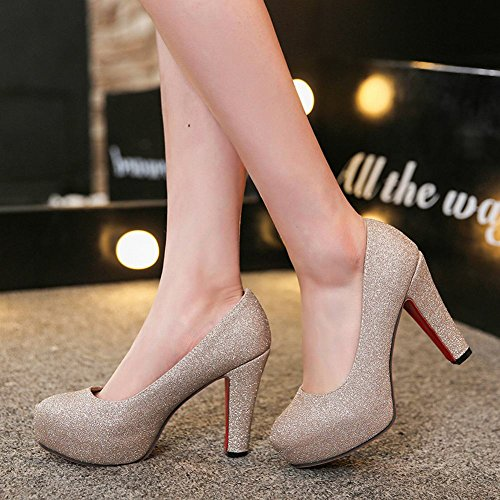 Mee Shoes Damen elegant high heels Pailletten Pumps Gold