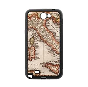 Case - Antique Map of Italy Samsung Galaxy Note2 N7100 Plastic and TPU Case, Cell Phone Cover