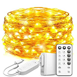 Govee String Lights Plug in, 33 Feet Led Fairy Lights, 100 LEDs Remote Control Fairy Lights with 8 Scence Modes 4 Timing Options USB Fairy Lights for Wedding Christmas Festival Outdoor Warm White