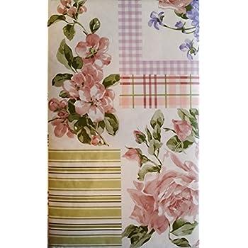 Amazon Com Pink Roses And Violets Floral Patchwork Vinyl