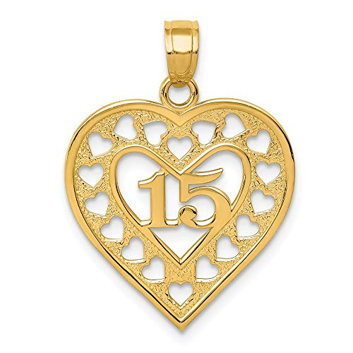 14k Yellow Gold 15 In Cut Out Heart Frame Pendant Charm Necklace Love Fine Jewelry Gifts For Women For Her