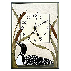 Modern Artisans Loon in Cattails Ceramic Art Wall Clock, 7.5 x 10.5