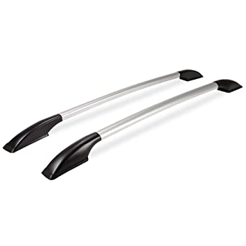 Youngshop Pack of 2 Universal Aluminum Roof Rack Stick on Car Top Side Rails Decoration for Nissan NV200 Easy Install Silver