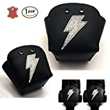 Kuccmu Leather Roller Skate Toe Guards with Pattern (Silver rough lightning)