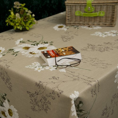 Price comparison product image Margo Neutral Wipe Clean French Linen Tablecloth - 140cm wide- Price per half metre by Franclaire Fabrics