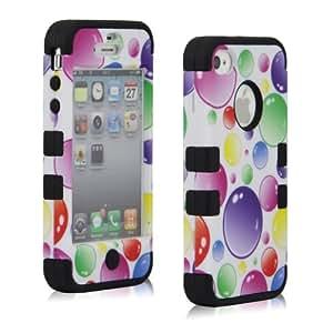 Misswonder Rainbow Bubbles Dual Hybrid Negro silicona caso duro para iPhone4 4S