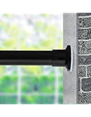 MOYMO Room Divider Tension Curtain Rod, 83-122 inch Rust-Resistant and Non-Fall Down Curtain Rod,No Drilling Spring Tension Rods,Adjustable Spring Windows Curtain Rods(210-310cm,Black)