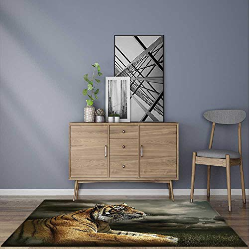er Pad Decor Collection Tiger Leopard Safari Jungle African Cat Accessories Black Gray Brown for Any Hard Surface Floor ()