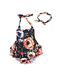 Camellia Floral Ruffles Rompers With Headband Summer Beach Wear (12-24 Month,Orange)