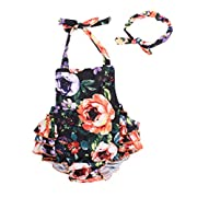 Camellia Floral Ruffles Rompers With Headband Summer Swimwear (Medium,Orange)