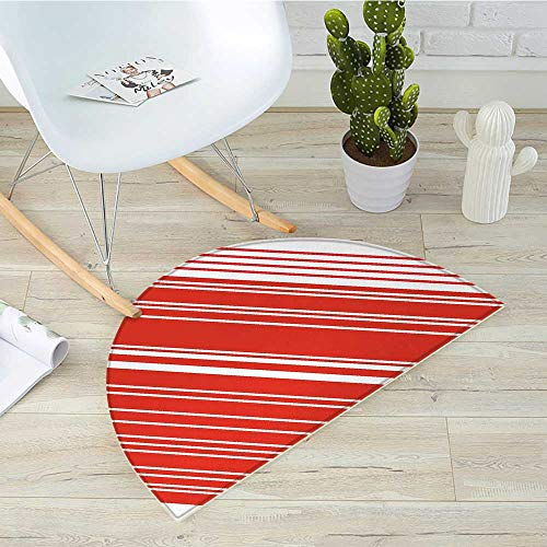 - Candy Cane Semicircular CushionDiagonal Barcode Patterned Lines on White Background Abstract Geometric Design Entry Door Mat H 35.4