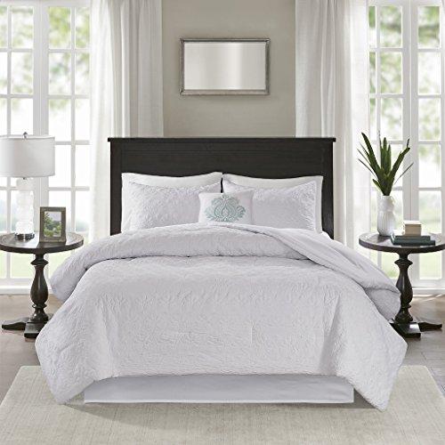 Madison Park Quebec 5 Piece Comforter Set, White, Cal King, California