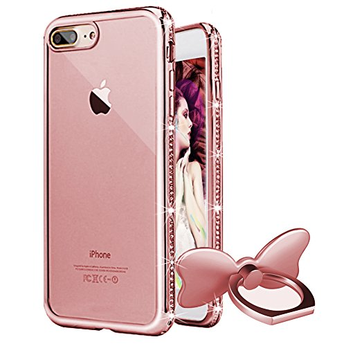 - iPhone 8 Plus Case,iPhone 7 Plus Case,WATACHE Bling Diamond Edge Clear Crystal Soft TPU Back Protective Case with Finger Ring Stand for Apple iPhone 8/7 Plus(Rose Gold)