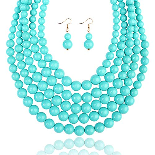 (RIAH FASHION Multi Layer Beaded Bubble Statement Necklace - Round Ball Chunky Strand Drape Bib Collar Set Marbled, Colorful (5-Strand - Turquoise))