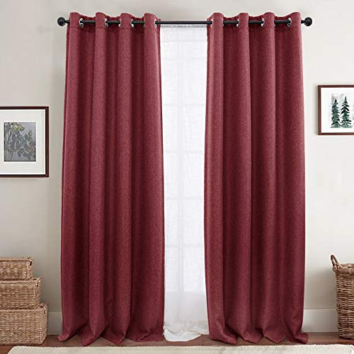jinchan Linen Textured Curtains for Living Room Curtain Panel Room Darkening Window Curtains Grommet Blackout Drapes for Bedroom Window Treatment 2 Panels 84
