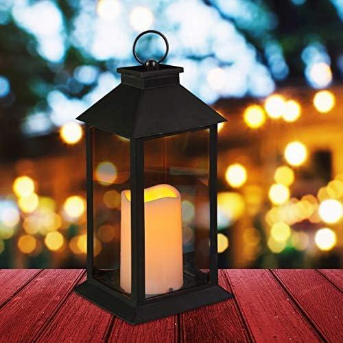 Relaxdays, Negro Farol LED de jardín, Vela con Efecto de Llama ...
