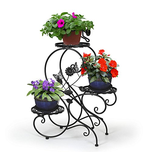 "HLC 3-tier Classic Plant Stand with Modern ""S"" Design (Black) For Sale"