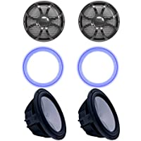 Wet Sounds Two Revo 10 Subwoofers, Grills, RGB LED Rings - Black Subwoofers & Black Closed Face SW Grills - 4 Ohm