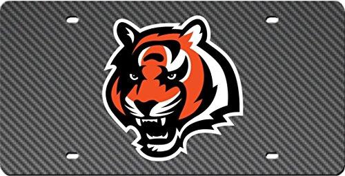 Cincinnati Bengals CARBON FIBER Design Deluxe Laser License Plate Tag ()
