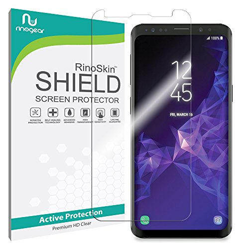 Screen Protector Compatible with Galaxy S9+ Plus Screen Protector by RinoGear [Active Protection] (Edge-to-Edge) Flexible HD Invisible Clear Shield Anti-Bubble