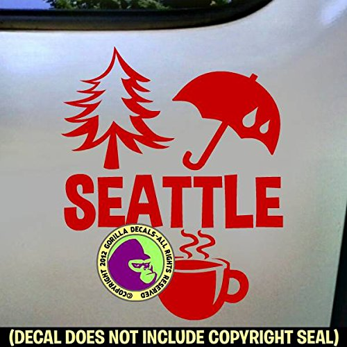 SEATTLE Washington State I Love Pride Vinyl Decal Bumper Sticker Car Laptop RED - Puget Computer